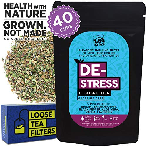 The Tea Trove Destress Herbal Tea | Supports Relaxing and Restful Sleep | Stress Relief Tea helping with Anxiety | Steep as Hot Bedtime Sleep Tea or Iced Calming Tea | Caffeine Free, (1.73oz, 40 Cups)