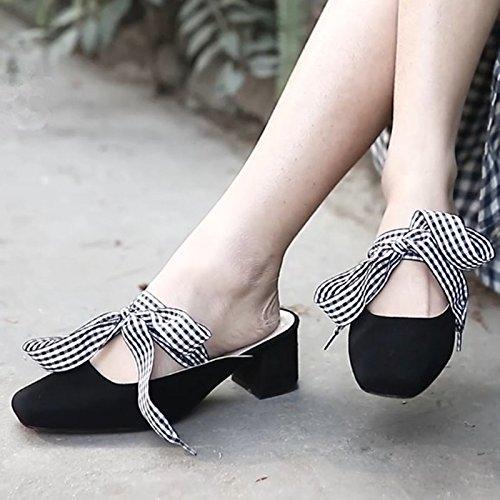spessa Bow black scarpe bendaggio Qingchunhuangtang Sandali molla scarpe a con piazza metà qRdXxPZFwx