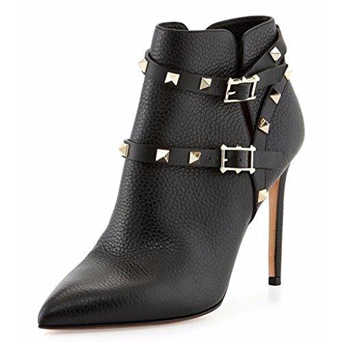 Signora Suede Inverno Fibbie caviglia metallo in pelle A in Autunno lavoro di posto scarpe Booties Caricamenti BLACK 41 tallone impermeabili del rivetti 669FD 42 Lady della rqFn60frU