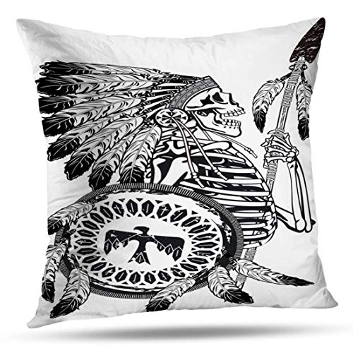 HAPPYOME Decorative Throw Pillow Covers Native American Skeleton Wearing War and Shield America Ancient BonePillow Case Cushion Cover for Bedroom Livingroom Sofa 20X20 -