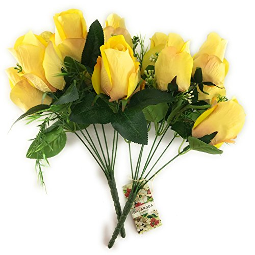 DALAMODA 2 Bundles 14 heads Rose bud Artificial Flowers Bouquet-Fake Flowers Silk Plastic Artificial Roses Pack of 2pcs (Yellow) - Two Yellow Roses