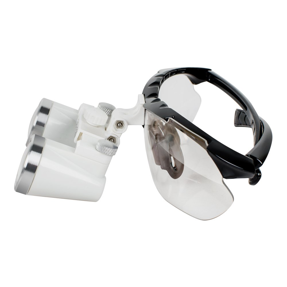 Vinmax (FBA Available) Dental Surgical Medical Binocular Loupes Optical Glass Loupe 3.5x 420mm + Head Light Lamp +Carry bag (Black) by vinmax (Image #4)