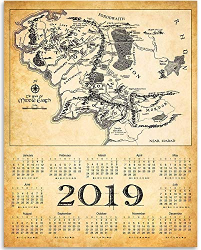 Amazon Com 2019 Calendar The Realm Of Middle Earth Map 11x14