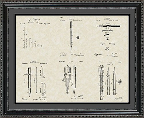 Writing Instrument Patent Collection Art | Writer Editor Framed Wall Art Gift