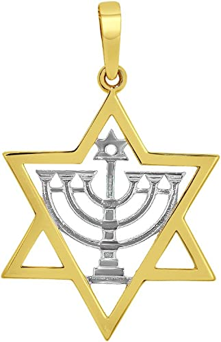 14K Two-Tone Gold Menorah Charm Pendant
