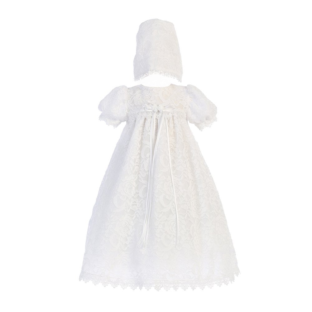 Girls Lace Overall Christening Baptism Dress