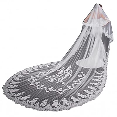 EllieHouse Women's 2 Tier Cathedral Wedding Bridal Veil With Comb L10