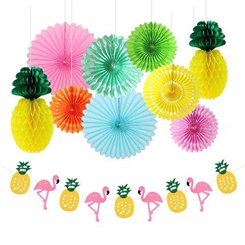 Zilue Summer Party Pack of 10 Kit Paper Fans Pineapple Balls and Flamingos Banner Garland Tropical Hawaiian Luau Beach Decoration