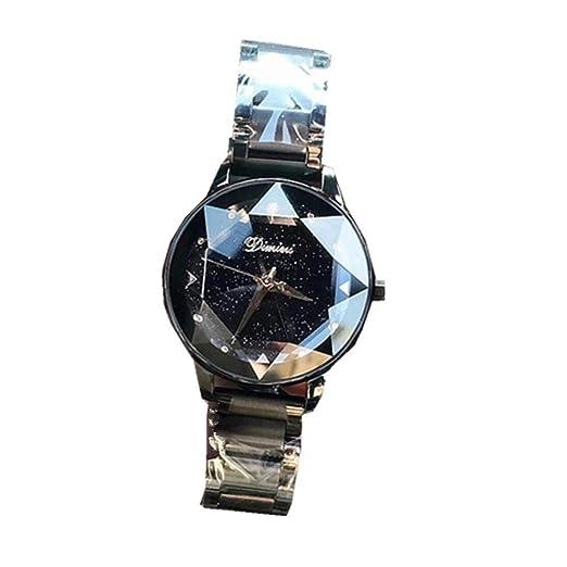 Dimini - Relojes de Cuarzo para Mujer con Esfera de Cielo Estrellado, Correa de Acero