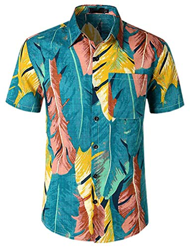 Men's Flower Casual Short Sleeve Button Down Hawaiian Shirt, Leafs, US Small = Tag M