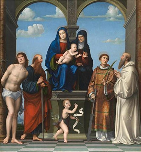 'Francesco Francia - The Virgin And Child With Saint Anne And Other Saints,about 1511-17' Oil Painting, 10x11 Inch / 25x27 Cm ,printed On Perfect Effect Canvas ,this Imitations Art DecorativeCanvas Prints Is Perfectly Suitalbe For Home Office Decoration And Home Artwork And Gifts