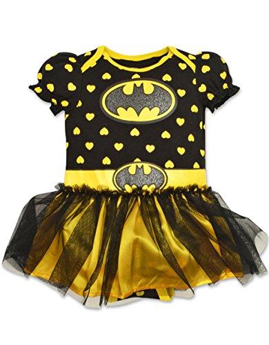 Dc Halloween (Baby Girls' Batgirl Tutu Onesie - Black with Yellow Hearts (3-6 Months))