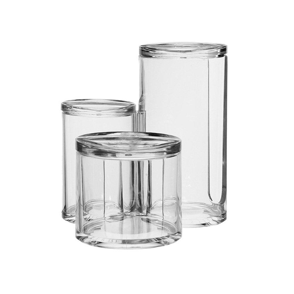 ROARINGWILD Clear Cotton Balls Acrylic Organizer and Swab Holder Organizer Storage Box- Premium Quality Acrylic Round Container Makeup Pads Swab Holder Case