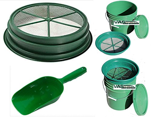 VAS 49ER 2PC GOLD PANNING PAYDIRT CLASSIFIER SET 1 Paydirt Sand/Dirt Sifter Classifiers 1/8 & 1 Paydirt 2 Cup Super Scooper (Gold Pan Classifier compare prices)