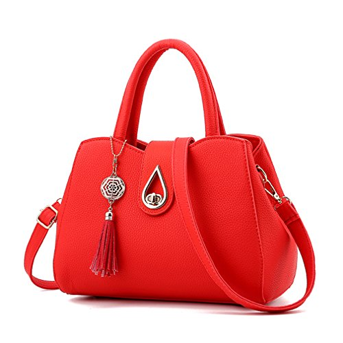 Pahajim red Purses Shoulder Satchel Small Women leather Tote Handbags Tassel PU Bags WWFnwC