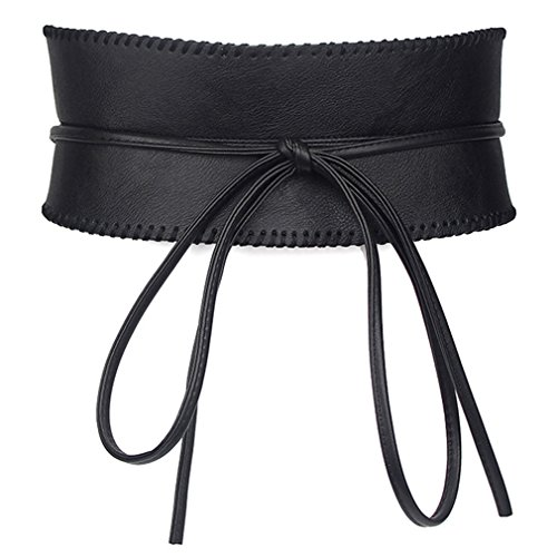 Kimring Women's Soft Faux Leather Obi Self Tie Wrap Around Waist Band Cinch Belt, Black, One (Belted Leather Tie)