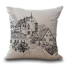 """YJ Bear Black and White Street Building Print Linen Decorative Throw Cushion with Insert Office Chair Seat Back Cushion Decorative Pillow with Filler 18"""" X 18"""""""