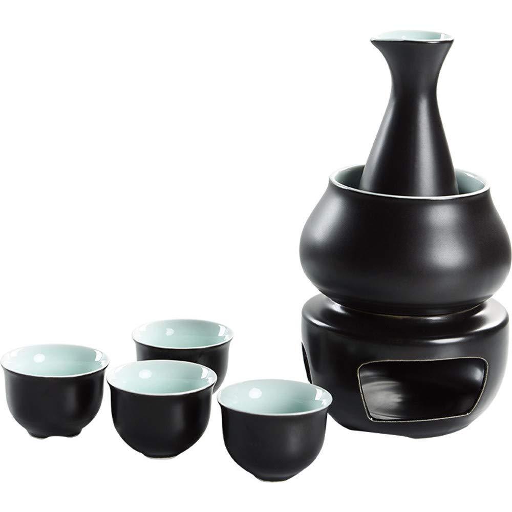 JIASHU Ceramic Japanese Hot Sake Set with 4Pc Sake Cups, 1Pc Sake Bottle, 1Pc Warmer Pot, 1Pc Heating Pot Wine Modern Wine Glass Wine Set