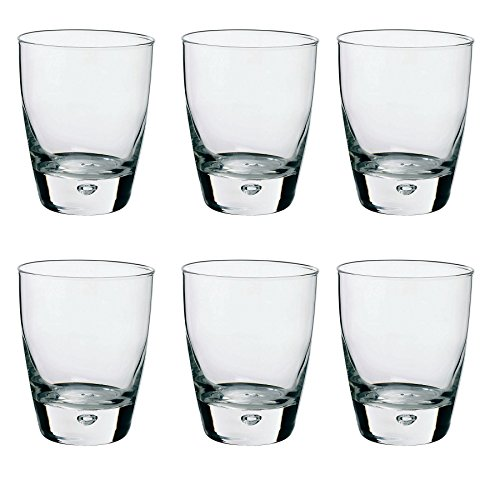 (Bormioli Rocco Luna Clear Bubble Base Glass Drinking Tumblers - 260ml - Pack of 6)