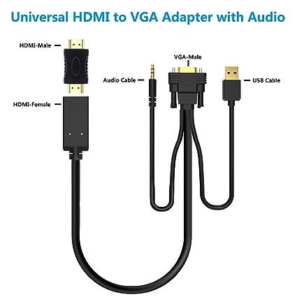 Adaptador HDMI a VGA Cable con Audio,Universal Convertidor Hembra/Macho HDMI a VGA,Activo Hacer Conversor/Conector HDMI-VGA para TV Stick,Roku,Chromecast,PS4,Xbox,PC a TV,Monitor,Proyector,60CM,1080P