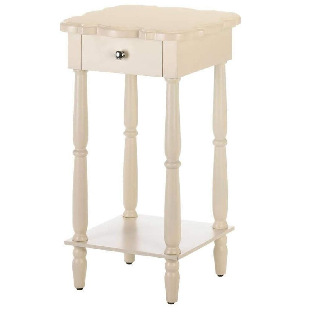 End Table Antique White Scalloped Top with Drawer Solid Hard BESTChoiceForYou
