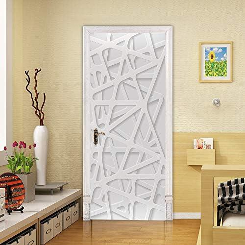 ZDDBD Adesivo per Porte in PVC Impermeabile Autoadesiva 3D Carta da Parati Poster Soggiorno Porta Decorazioni Murali Decalcomanie 90 Strada Culturale 200Cm
