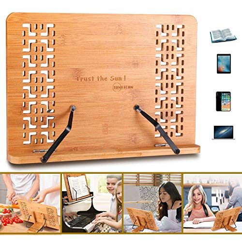 SUNFICON Large Book Stand Bamboo Cookbook Holder Textbook Magazine Recipe Music Document Tablet PC Display Stand Collapsible Adjustable Tray Elegant Hollow Pattern Gift Idea Family Friends Students