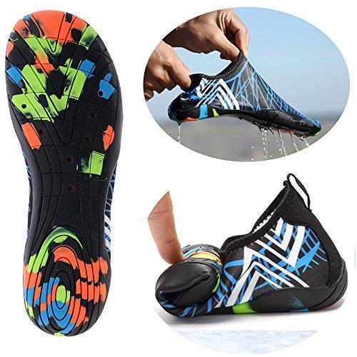 Joomra Unisex Tauchschuhe Breathable Strandschuhe Schnell trocknend Schwimmen Schuhe Surfen Schuhe für Damen Herren (Damen EU 35, Blau)
