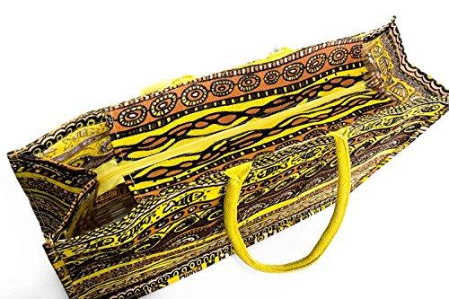 Bolsa playa piscina mujer G. VENTURI amarilla de hombro en yute V75