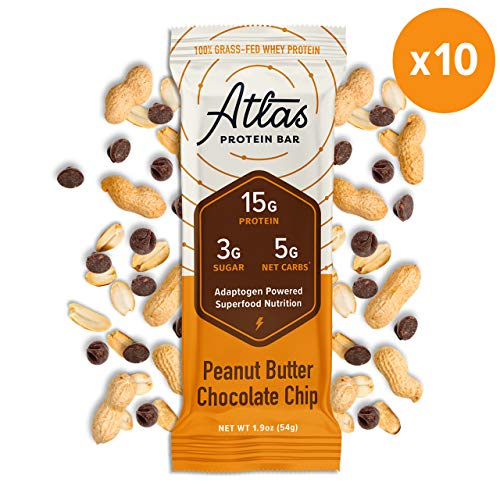 Atlas Protein Bar - Keto Friendly, Peanut Butter Chip (10-Pack) - Grass Fed Whey, Low Sugar, Clean Ingredients, All Natural, Gluten Free, Soy Free, and GMO Free
