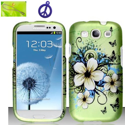 For Samsung Galaxy S3 III GT-i9300 Only, Hawaiian Flower Vine and Butterfly on Green Design, Matted Surface Hard Plastic Case Skin Cover Faceplate + Peace Charm and Strap Combo