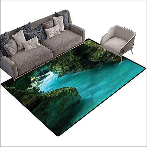Anti-Slip Coffee Table Floor Mats Waterfall,Alpine River Caves Travel 36