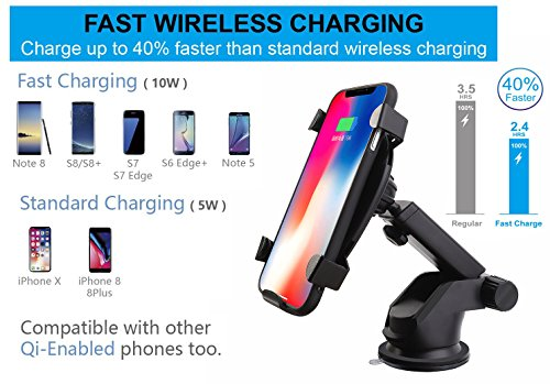 DINTO Wireless Car Charger Gravity Linkage Car Mount Phone Holder Wireless Charger Fast Charging for Galaxy S9, S8, S7/S7 Edge, Note 8 5,Standard Charge for iPhone X, 8/8 Plus & Qi Enabled Devices by DINTO (Image #1)