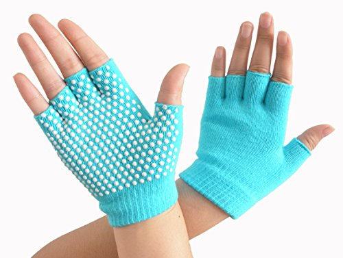 SUNLAND Yoga Pilates Gloves Non-Slip Grip with Silicone Fingerless for Training and Workouts One Pairs Blue