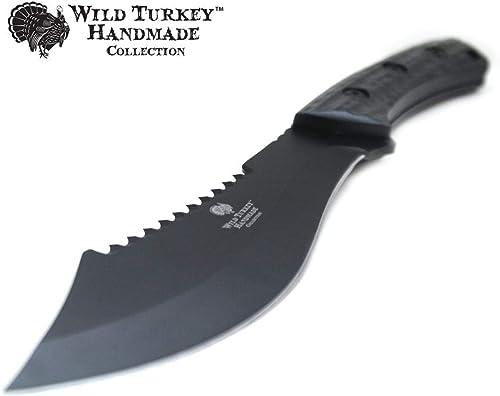 Wild Turkey Handmade 12 Heavy Duty Full Tang Fixed Blade Hunting Knife w Nylon Sheath