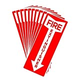 "Set of 10 Self Adhesive Fire Extinguisher Signs, 4.25"" x 11"" Decals."