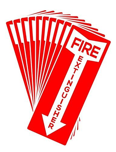 Set of 10 Self Adhesive Fire Extinguisher Signs, 4.25' x 11' Decals. 4.25 x 11 Decals. MP Printing