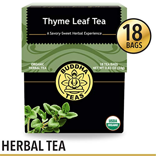 Organic Thyme Leaf Tea, 18 Bleach-Free Tea Bags - Caffeine Free, Antifungal Tea with Antibacterial Properties, Can Be Used to Aid Digestion, No GMOs