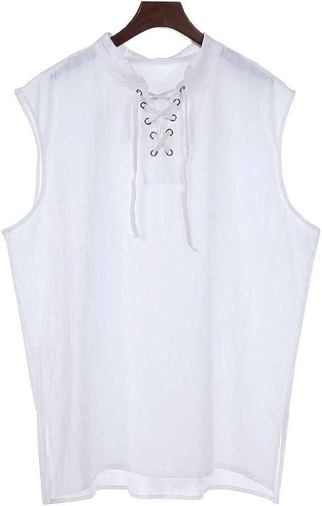 Junkai Camisa sin Mangas con cordón y Cuello Alto Cuello Alto ...