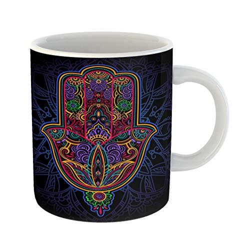 Emvency Funny Coffee Mug Multicolor Ornate Amulet Hamsa Hand of Fatima Ethnic Common in Indian 11 Oz Ceramic Coffee Mug Tea Cup Best Gift Or Souvenir]()