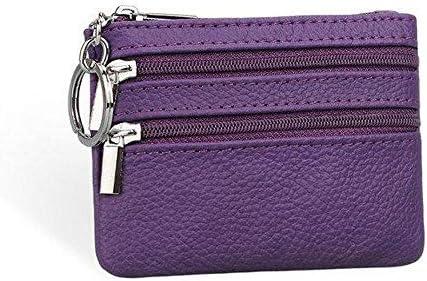 女性本物のレザーダブルジッパーカードホルダークラッチ財布キャンディーカラーコインバッグ YZUEYT