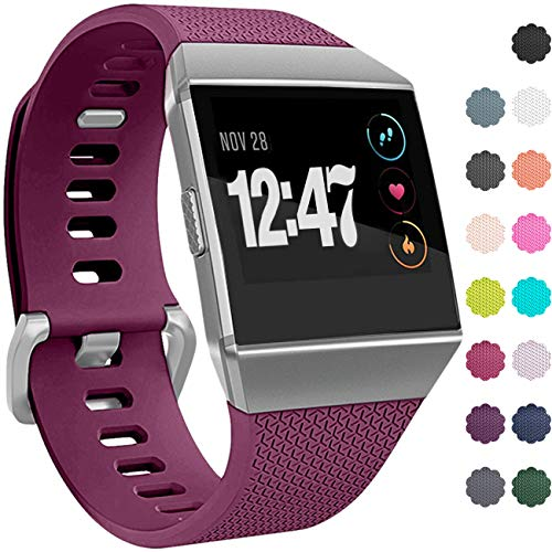 Wepro Bands Compatible with Fitbit Ionic SmartWatch, Watch Replacement Sport Strap for Women Men Kids, Buckle, Small, Fuchsia
