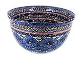 Polish Pottery Blue Art Large Mixing Bowl