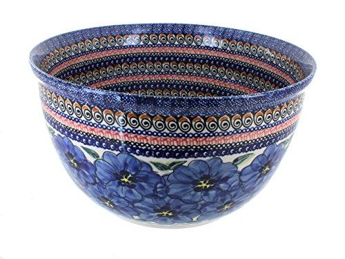 Polish Pottery Blue Art Large Mixing Bowl by Zaklady