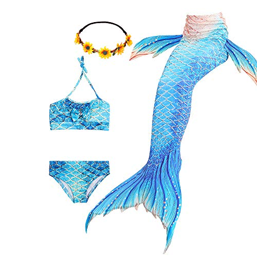Ubetoone 3Pcs Mermaid Tails for Girls Swimming Costume Party Supplies Swimsuit Swimwear Bikini for 3-12Y  (C-Whale Mermaid, Child XXL (10Y-11Y))