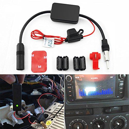 FEELDO Amplificador de señal AM/FM para antena de coche de Arial Radio AMP