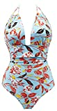 Eomenie Women's Deep V Neck Bathing Suits Monokini Sexy Tummy Control Swimwear One Piece Swimsuit For Women, Print #3, M/US:8-10