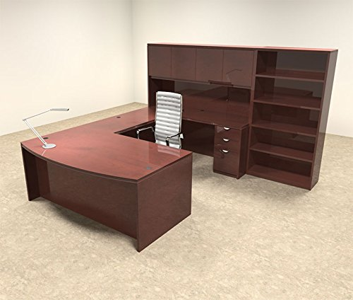 6pc Wood Bow Front U Shaped Modern Executive Office Desk Set, #OT-VET-U7 - Hand U-shaped Desk