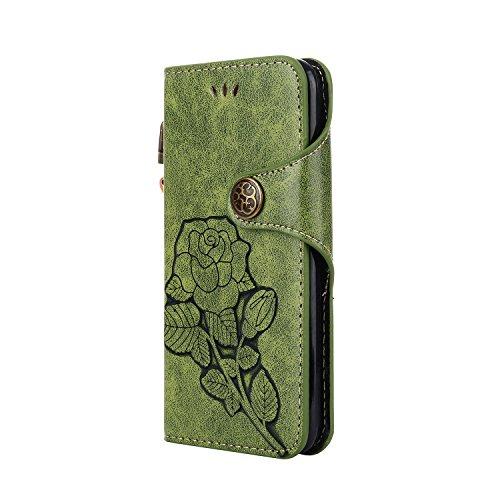 Funda Huawei P10, CaseLover Folio Cartera Piel PU Carcasa para P10 Libro Cuero Tapa con Cierre Magnético, Soporte Plegable, Billetera y Tarjeta Ranura Cubierta Leather Caja - Naranja Verde
