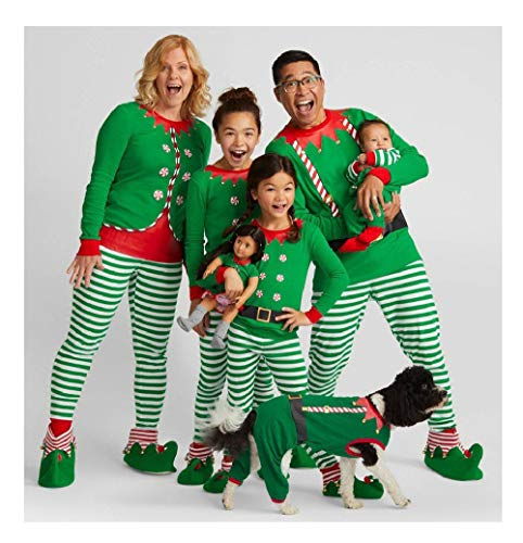 Kehen Family Matching Christmas Pajamas Set for Baby Kids Mom and Dad Xmas Santa Print Sleepwear Outfits,White and Green Dad ()